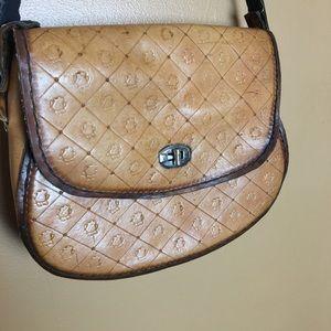 VINTAGE / Hand Tooled Leather Crossbody Purse